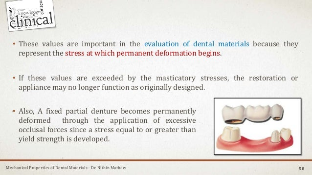 Mechanical Properties of Dental Materials - Dr. Nithin Mathew • These values are important in the evaluation of dental mat...