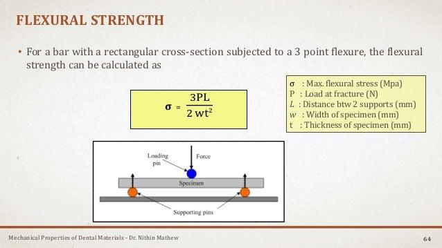 Mechanical Properties of Dental Materials - Dr. Nithin Mathew FLEXURAL STRENGTH • For a bar with a rectangular cross-secti...