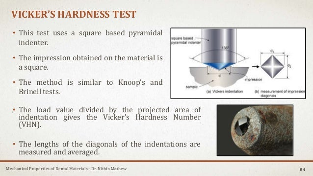 Mechanical Properties of Dental Materials - Dr. Nithin Mathew VICKER'S HARDNESS TEST • This test uses a square based pyram...