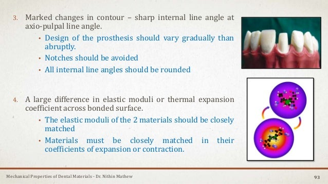 Mechanical Properties of Dental Materials - Dr. Nithin Mathew 3. Marked changes in contour – sharp internal line angle at ...