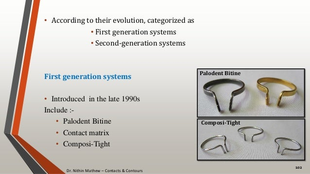 Dr. Nithin Mathew – Contacts & Contours 102 • According to their evolution, categorized as • First generation systems • Se...