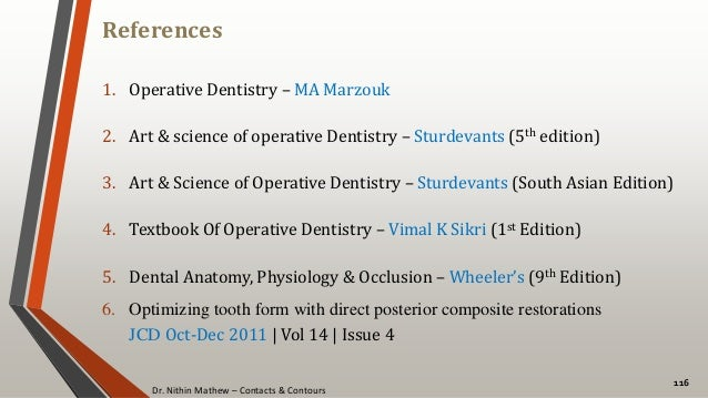 Dr. Nithin Mathew – Contacts & Contours References 116 1. Operative Dentistry – MA Marzouk 2. Art & science of operative D...