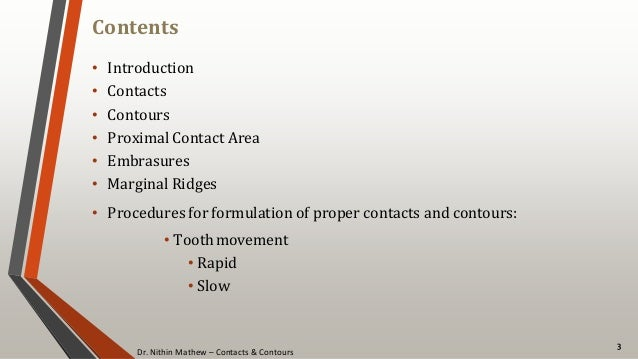 Dr. Nithin Mathew – Contacts & Contours Contents • Introduction • Contacts • Contours • Proximal Contact Area • Embrasures...