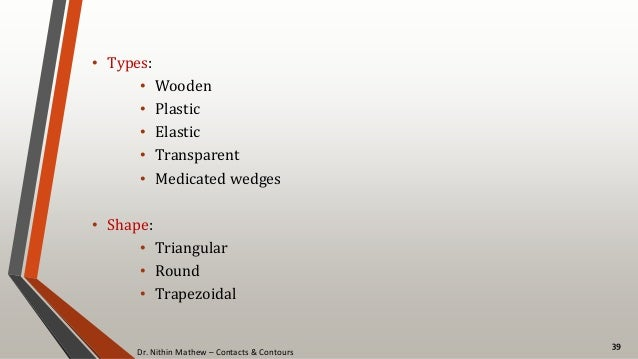 Dr. Nithin Mathew – Contacts & Contours 39 • Types: • Wooden • Plastic • Elastic • Transparent • Medicated wedges • Shape:...