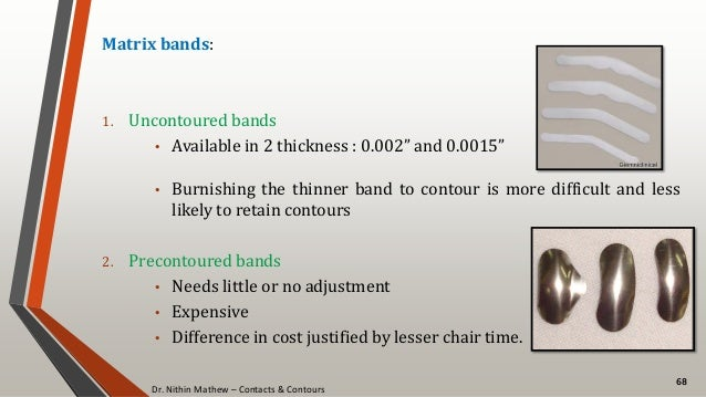 """Dr. Nithin Mathew – Contacts & Contours 68 Matrix bands: 1. Uncontoured bands • Available in 2 thickness : 0.002"""" and 0.00..."""