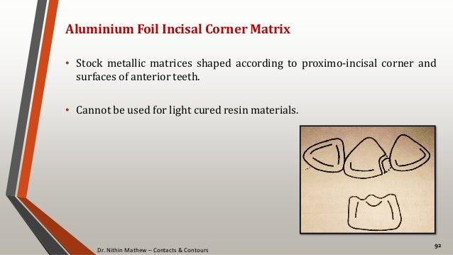 Dr. Nithin Mathew – Contacts & Contours 92 Aluminium Foil Incisal Corner Matrix • Stock metallic matrices shaped according...