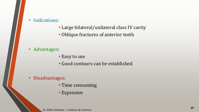 Dr. Nithin Mathew – Contacts & Contours 96 • Indications: • Large bilateral/unilateral class IV cavity • Oblique fractures...