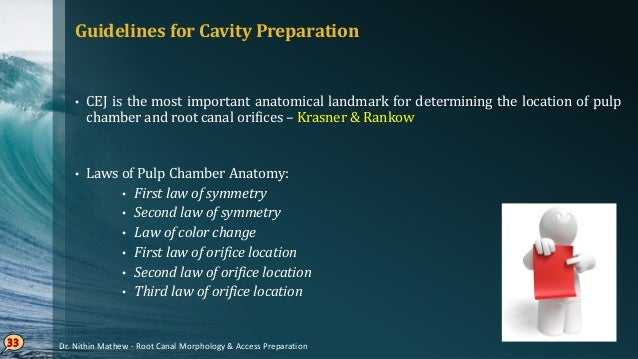 Laws of Pulp Chamber Anatomy – Krasner & Rankow First• law of symmetry Except• for maxillary molars, orifices of the canal...