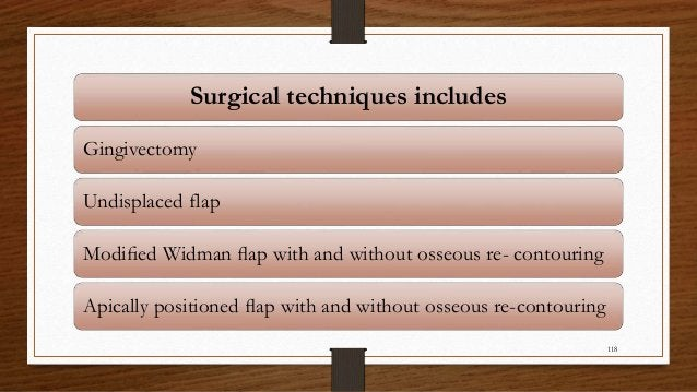 Surgical techniques includes Gingivectomy Undisplaced flap Modified Widman flap with and without osseous re- contouring Apic...