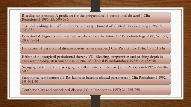 "Bleeding on probing. A predictor for the progression of periodontal disease? J Clin Periodontol 1986; 13: 590-596. ""Critic..."