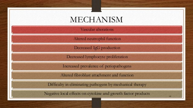 MECHANISM Vascular alterations Altered neutrophil function Decreased IgG production Decreased lymphocyte proliferation Inc...
