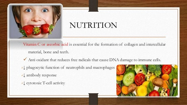 NUTRITION Vitamin C or ascorbic acid is essential for the formation of collagen and intercellular material, bone and teeth...