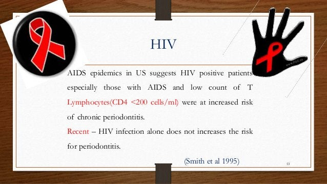 HIV AIDS epidemics in US suggests HIV positive patients especially those with AIDS and low count of T Lymphocytes(CD4 <200...