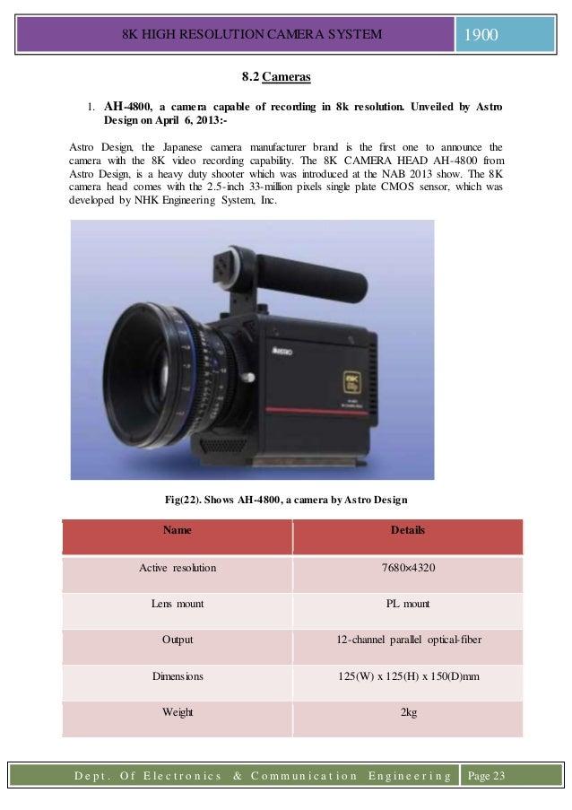 8k high resolution camera system