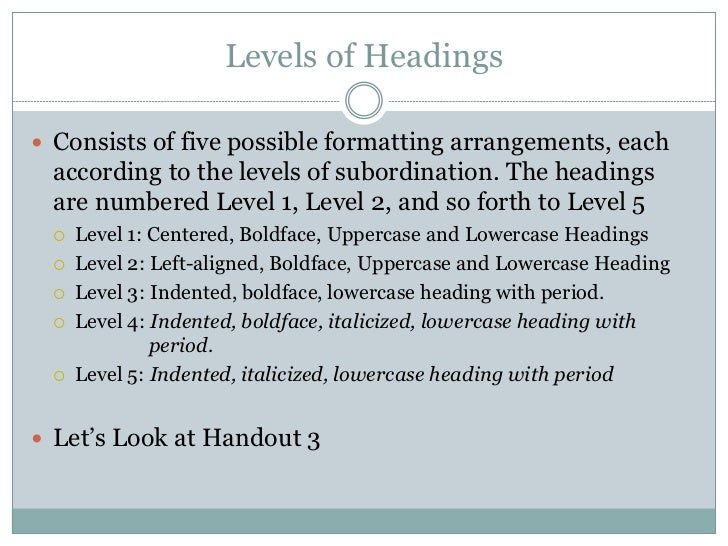 thesis headings apa By chelsea lee the 6th edition of the publication manual brings an important and exciting change: a new way of doing headings the updated headings style should make.