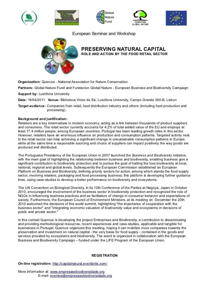 European Seminar and Workshop                                          PRESERVING NATURAL CAPITAL                         ...