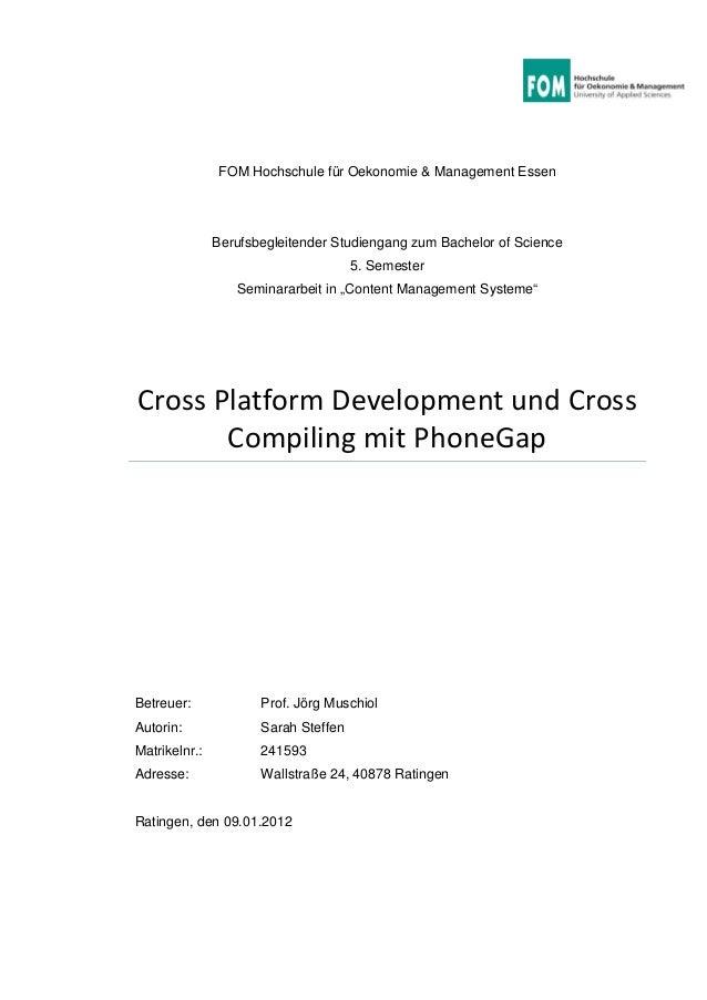 FOM Hochschule für Oekonomie & Management Essen Berufsbegleitender Studiengang zum Bachelor of Science 5. Semester Seminar...