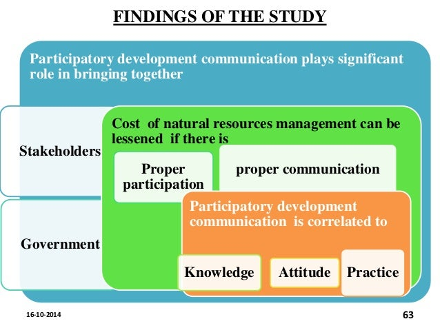 the role of participatory communication in Once you identify the right level of public participation for your project, remember that you must develop a clear goal statement for public participation so that everyone on the team has the same understanding of the role of the public.