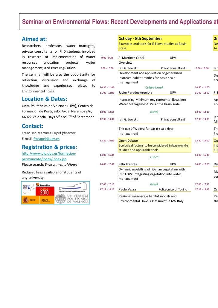 Seminar on Environmental Flows: Recent Developments and Applications at Basin ScaleAimed at:                              ...