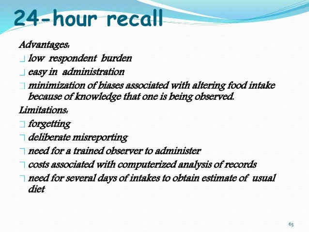 24 Hour Diet Recall Limitations