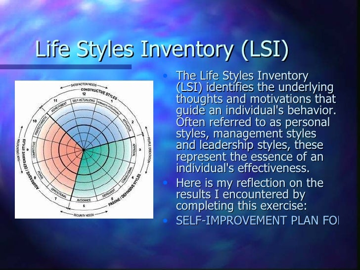 my lsi life styles inventory interpretation Kolb's learning style inventory (lsi) perhaps one of the best-known and most widely used questionnaires is the learning style inventory (lsi) based on kolb's learning styles.