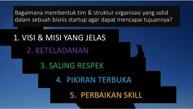 Bagaimana membentuk tim & struktur organisasi yang solid dalam sebuah bisnis startup agar dapat mencapai tujuannya? 1. VIS...