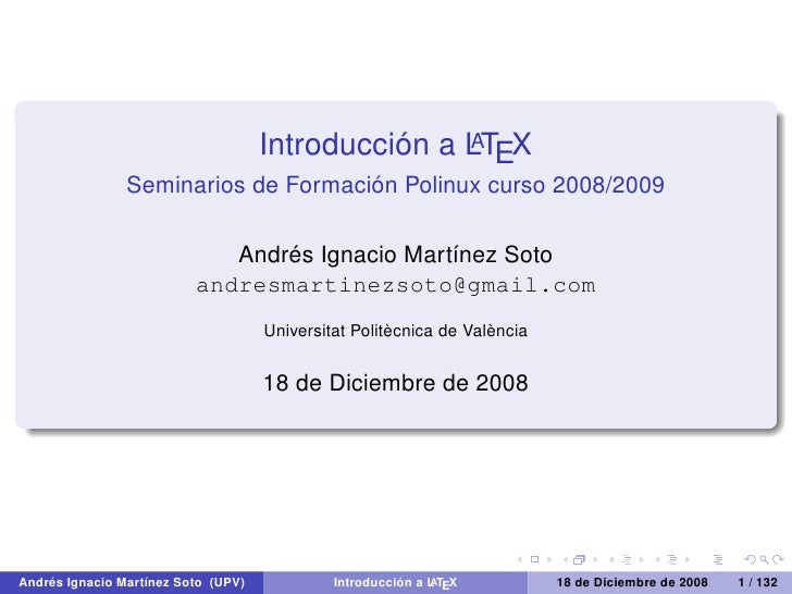 Introducción a LTEX                                                     A                  Seminarios de Formación Polinux...