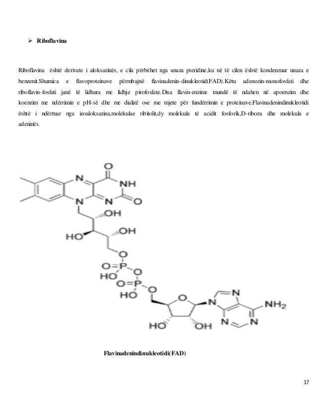 17  Riboflavina Riboflavina është derivate i aloksazinës, e cila përbëhet nga unaza pteridine,ku në të cilen është konden...