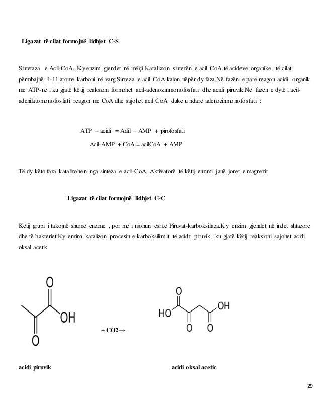 29 Ligazat të cilat formojnë lidhjet C-S Sintetaza e Acil-CoA. Ky enzim gjendet në mëlçi.Katalizon sintezën e acil CoA të ...