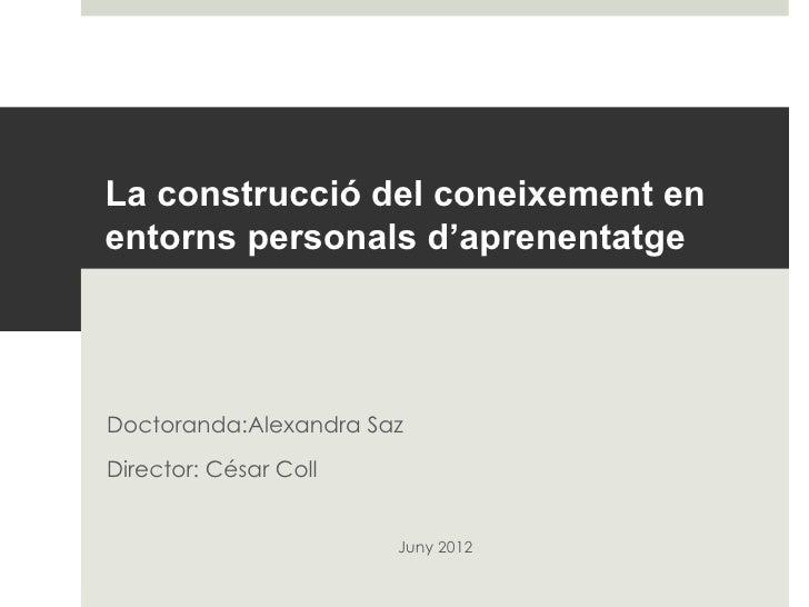 La construcció del coneixement enentorns personals d'aprenentatgeDoctoranda:Alexandra SazDirector: César Coll            ...