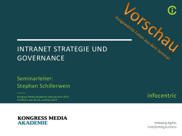 INTRANET STRATEGIE UNDGOVERNANCESeminarleiter:Stephan SchillerweinKongress Media Akademie Seminarserie 2013Frankfurt und Z...