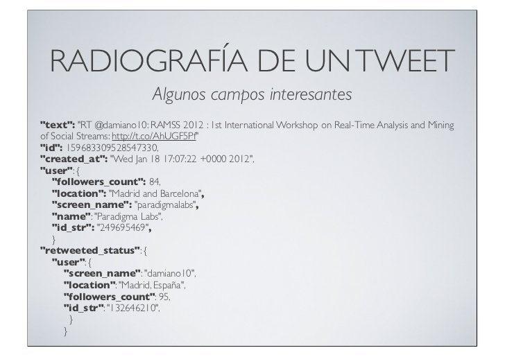 """RADIOGRAFÍA DE UN TWEET                          Algunos campos interesantes""""text"""": """"RT @damiano10: RAMSS 2012 : 1st Inter..."""