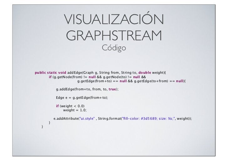 VISUALIZACIÓN                  GRAPHSTREAM                                         Códigopublic static void addEdge(Graph ...