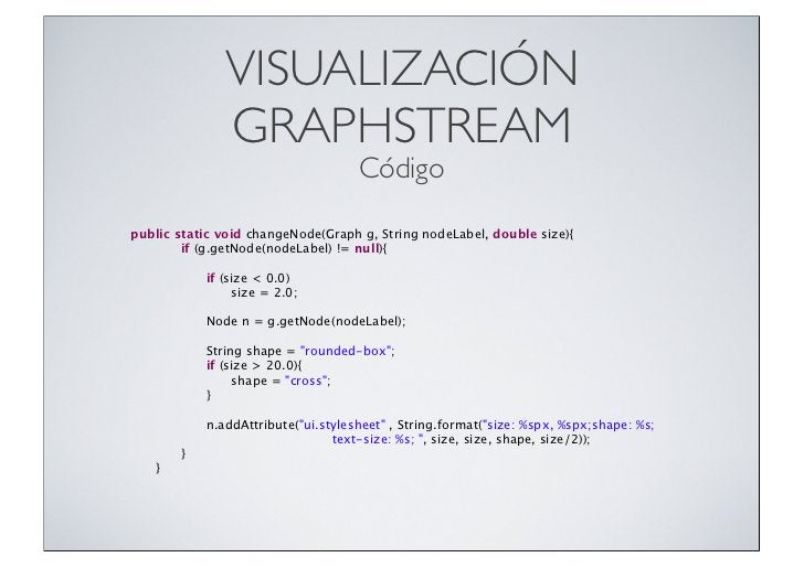 VISUALIZACIÓN               GRAPHSTREAM                                     Códigopublic static void changeNode(Graph g, S...