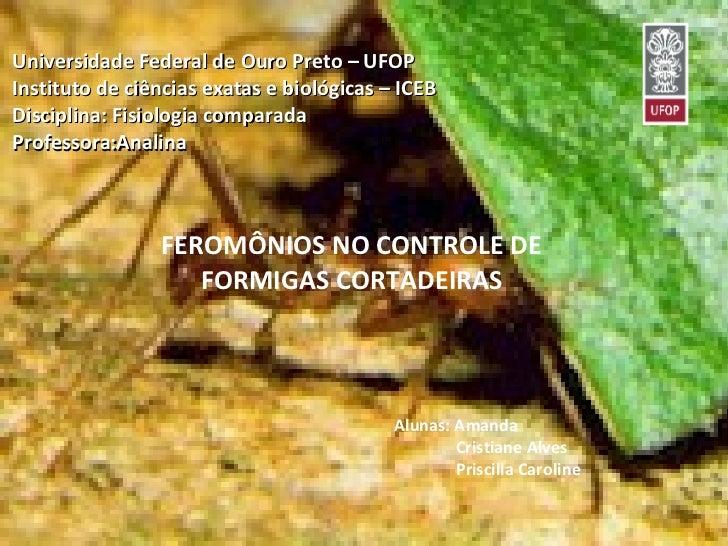 Universidade Federal de Ouro Preto – UFOP  Instituto de ciências exatas e biológicas – ICEB  Disciplina: Fisiologia compar...