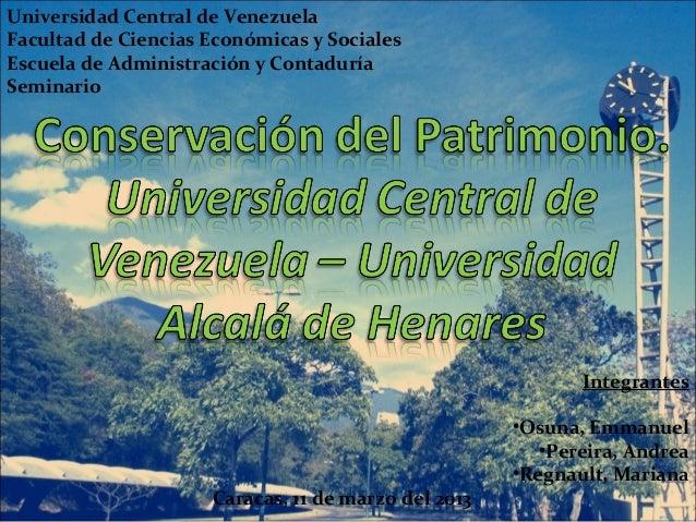 Universidad Central de VenezuelaFacultad de Ciencias Económicas y SocialesEscuela de Administración y ContaduríaSeminario ...