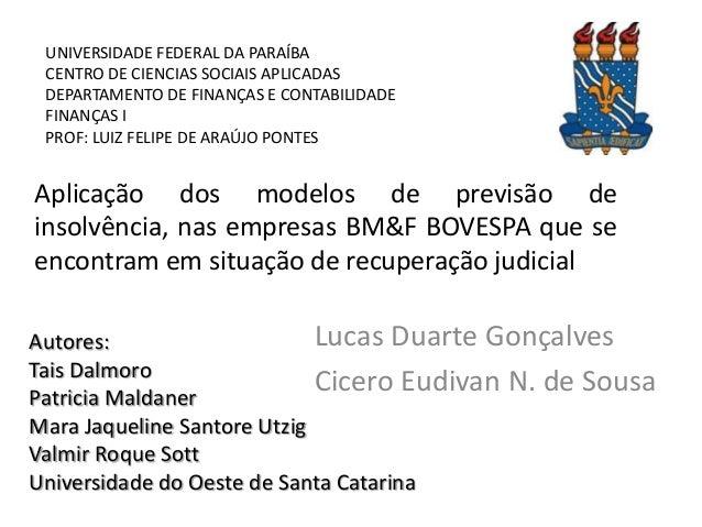 UNIVERSIDADE FEDERAL DA PARAÍBA CENTRO DE CIENCIAS SOCIAIS APLICADAS DEPARTAMENTO DE FINANÇAS E CONTABILIDADE FINANÇAS I P...