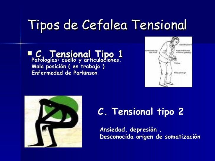 Tipos de Cefalea Tensional <ul><li>C. Tensional Tipo 1 </li></ul>Patologías: cuello y articulaciones. Mala posición.( en t...
