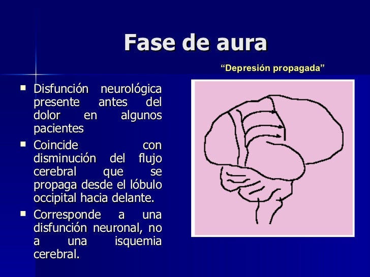 Fase de aura <ul><li>Disfunción neurológica presente antes del dolor en algunos pacientes </li></ul><ul><li>Coincide con d...