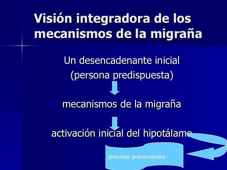 Visión integradora de los mecanismos de la migraña  <ul><li>Un desencadenante inicial  </li></ul><ul><li>(persona predispu...