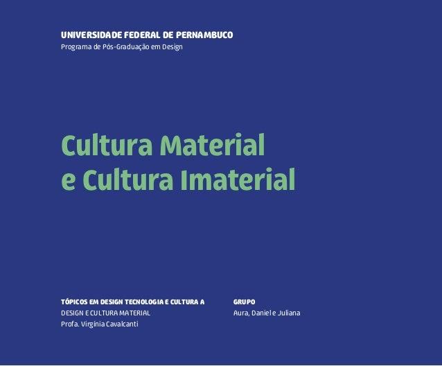 UNIVERSIDADE FEDERAL DE PERNAMBUCO  Programa de Pós-Graduação em Design  Cultura Material  e Cultura Imaterial  DANIEL DUT...