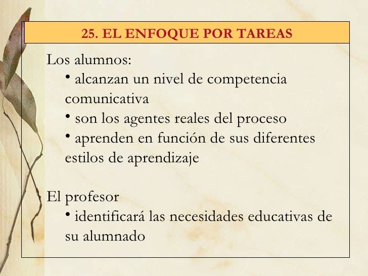 25. EL ENFOQUE POR TAREAS <ul><li>Los alumnos: </li></ul><ul><ul><li>alcanzan un nivel de competencia comunicativa </li></...