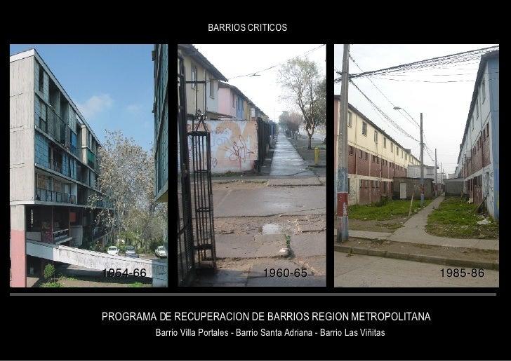 PROGRAMA DE RECUPERACION DE BARRIOS REGION METROPOLITANA Barrio Villa Portales - Barrio Santa Adriana - Barrio Las Viñitas...