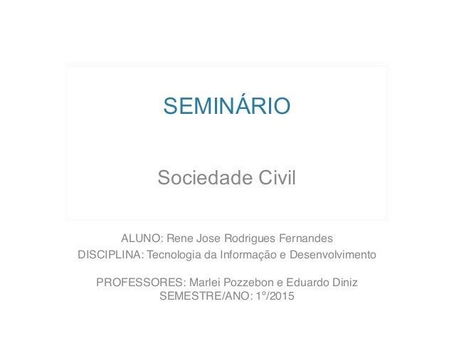 SEMINÁRIO Sociedade Civil ALUNO: Rene Jose Rodrigues Fernandes DISCIPLINA: Tecnologia da Informação e Desenvolvimento  P...