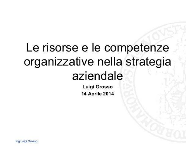 Le risorse e le competenze organizzative nella strategia aziendale Luigi Grosso 14 Aprile 2014