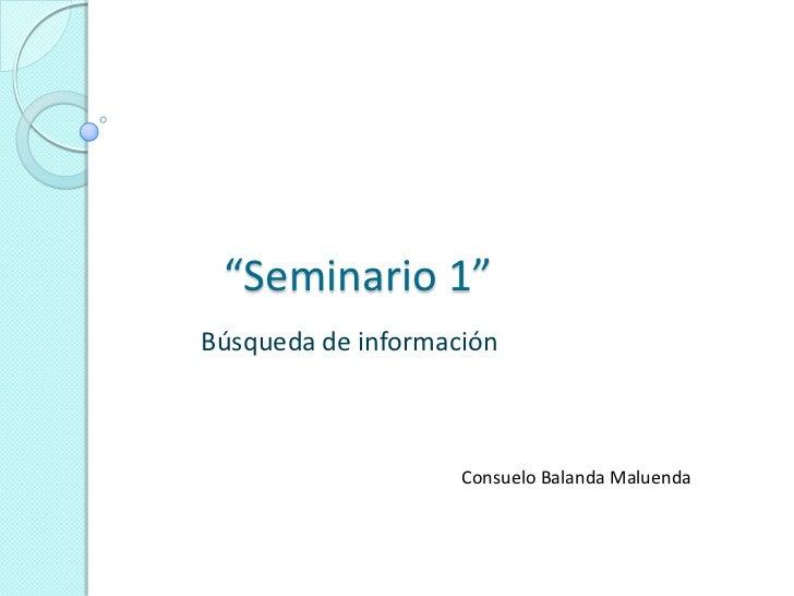 """""""Seminario 1""""Búsqueda de información                    Consuelo Balanda Maluenda"""