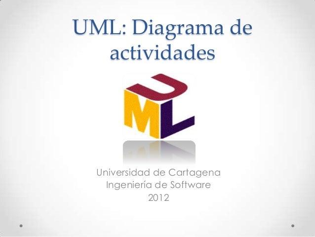 UML: Diagrama de  actividades  Universidad de Cartagena    Ingeniería de Software             2012