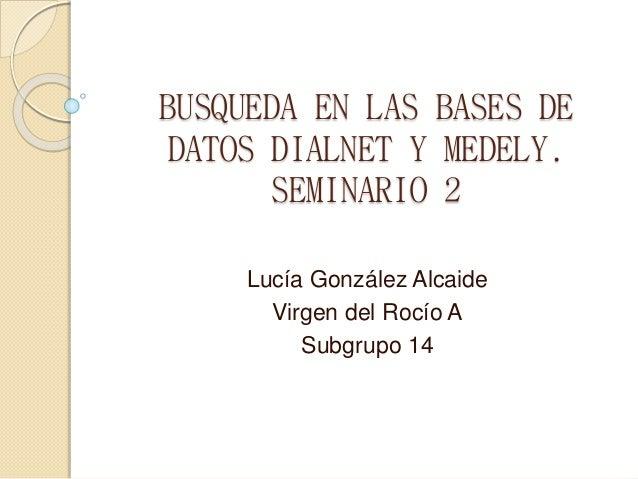 BUSQUEDA EN LAS BASES DE DATOS DIALNET Y MEDELY. SEMINARIO 2 Lucía González Alcaide Virgen del Rocío A Subgrupo 14