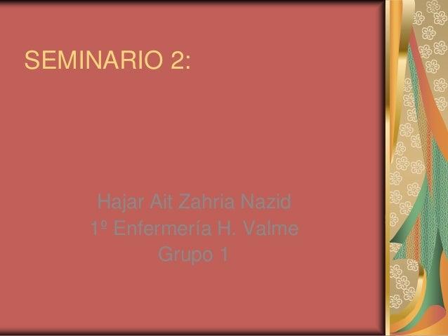 SEMINARIO 2:     Hajar Ait Zahria Nazid    1º Enfermería H. Valme            Grupo 1