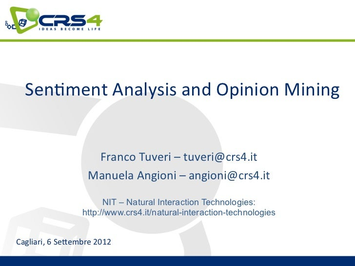 Sen$ment Analysis and Opinion Mining                                                                          ...